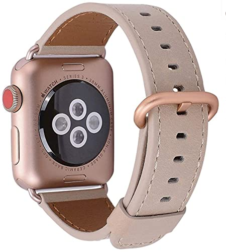JSGJMY Leather Band Compatible with Apple Watch 38mm 40mm 42mm 44mm Women Men Strap for iWatch SE Series 6 5 4 3 2 1(Light tan+Match SE/6/5/4/3 Rose Gold, 38mm/40mm S/M)