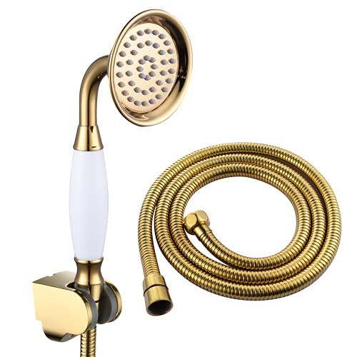 El juego de ducha de mano de teléfono con manija de porcelana incluye soporte de ducha de mano de manguera de ducha de 1,5 M, accesorios de ducha