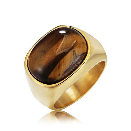 Anillo de titanio con ojo de tigre, anillo de acero de titanio para hombres y mujeres, de Hip Hop para parejas de boda, de compromiso, de recuerdo, en dos colores, oro - 9