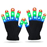 Gifts for 4 5 6 7 8 9 10 Year Old Boys, Viposoon LED Flashing Gloves Novelty Party Favors for Birthday Gifts for Girls Boys 2019 Christmas Gifts for Kids - Black