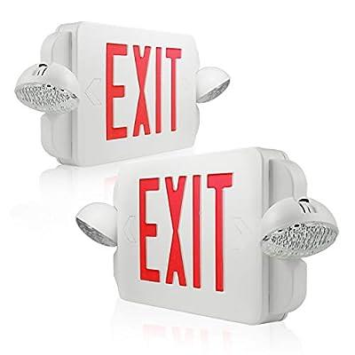 eTopLighting 2Packs of LED Red Exit Sign Emergency Light Combo with Battery Back-Up UL924 ETL listed, EL2BR-2