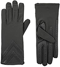 isotoner womens Spandex Touchscreen With Warm Fleece Lining and Chevron Details Cold Weather Gloves, Charcoal - Smartdri, Small Medium US