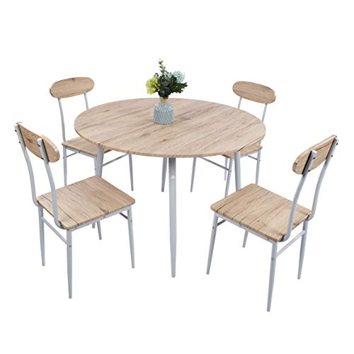Dporticus 5-Piece Round Dining Set Country Style Kitchen Table and Chairs with Metal Legs,Warm in White