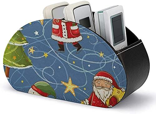 Soporte de control remoto de TV PU cuero Navidad Santa muñeco de nieve estrellas caja de almacenamiento multifuncional para suministros de oficina
