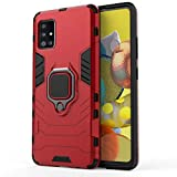 TANYO Funda para Samsung Galaxy A51 5G (Not for 4G Version), Carcasa TPU/PC Hybrid Case con 360° Soporte, Robusta Silicona Estuche, Antigolpes Cover Caso Rojo