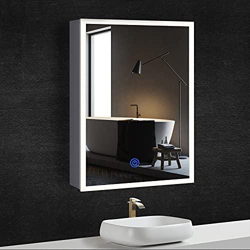 DICTAC Spiegelschrank Bad mit Beleuchtung LED + Steckdose, Metallgehäuse, Dreifarbig LED(3000-6500K), Einstellbare Helligkeit, 50x13,5x72cm, weiß. Prägnant, leicht zu reinigen.