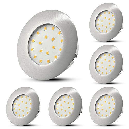 6er Set LED Einbaustrahler Ultra Flach Einbauleuchte Rund Matt Nickel Deckenstrahler 5W 500LM Neutralweiß, LED Modul Spots Deckeneinbauleuchte für das Wohnzimmer Küche Büro Gang