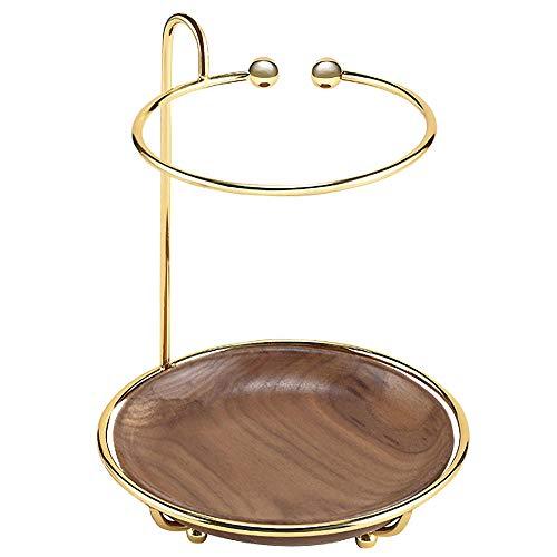 KMVIZI Organizador de joyas para collares, pendientes, soporte con bandeja de madera para guardar collares, pulseras, pendientes, anillos y relojes en la mesa