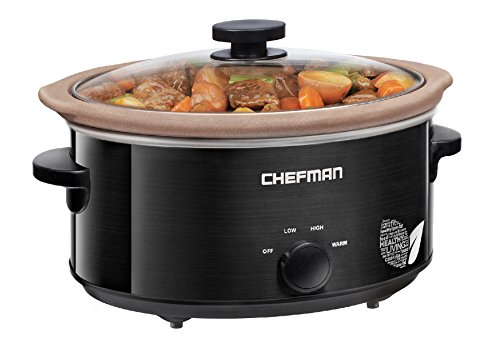 Chefman Slow Cooker, All-Natural XL 5 Qt. Pot, Glaze-Free, Chemical-Free Stovetop, Oven, Dishwasher Safe Crock; The Only Naturally Nonstick Paleo Certified Slow Cooker, Free Recipes Included