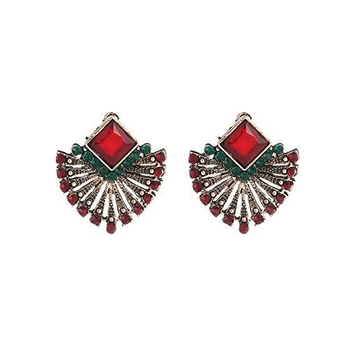 Boucles d'oreilles bohèmes pour Femmes Style Ethnique Boucle d'oreille Forme géométrique Rouge Strass Oreille Stud décoration Boucles d'oreilles