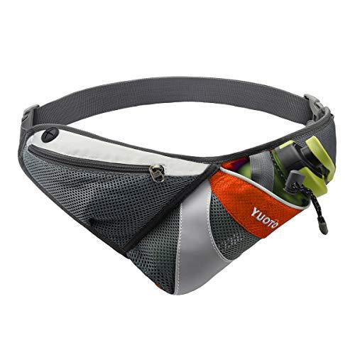 YUOTO Waist Pack with Water Bottle Holder for Running Walking Hiking Runners Hydration Belt Orange