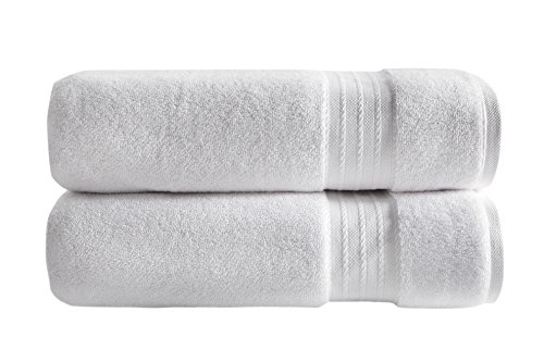 """SALBAKOS 100% Turkish Cotton Luxury Bath Sheets - Ultra Soft and Absorbent - Imported from Denizli Turkey - Set of Two 30"""" x 60"""" Bath Sheets - 1000 GSM"""