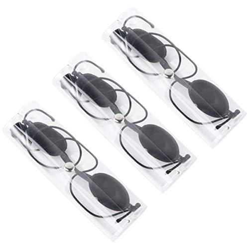 ULTNICE Solariumbrille Lichtschutzbrille Weiche Sonnenschutz Brille Augenklappen Augenschutz für Reise Sonnenbank Patienten IPL Haarentfernung Schwarz 3 Set