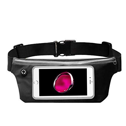 "Insten Lightweight Sports Activity Fitness Running Jogging Waist Pack Pocket Belt Pouch Bag Case - Black (Size: 6.5"" x 3.3"")"