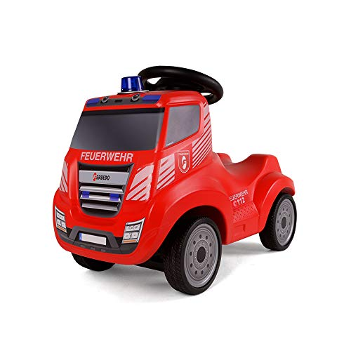 Ferbedo Feuerwehr Rutscher (mit Hupe, Sirene, Blaulicht, Feuerwehrauto, Flüsterlaufreifen, ergonomische Kniemulde) F054733