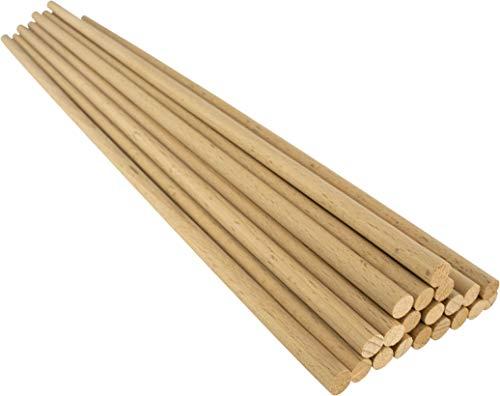 Holzstäbe A508040020 rund aus Buche natur, Ø 8 mm Länge 40 cm, 20 Stück, Zum Basteln, Modellbau, DIY Handwerk, Buchenholz, Ø 8 mm x 40 cm
