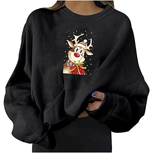 Christmas Sweatshirts for Women Cute Xmas Elk Print Sweater Trendy Tops Shirts Casual Blouse Crewneck Pullover Tunics Black