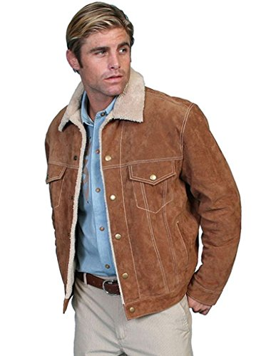 Scully Men's Sherpa Lined Boar Suede Jacket Brown X-Large