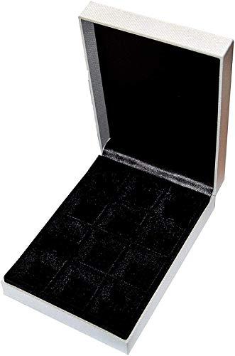 Luxuriös, praktisch und kompakt, 12 Fächer, Samt, Schwarz, gefüttert, Schmuckschatulle. Ideal für die Organisation und Aufbewahrung von Manschettenknöpfen, Ringen, Ohrringen und anderen Schmuck