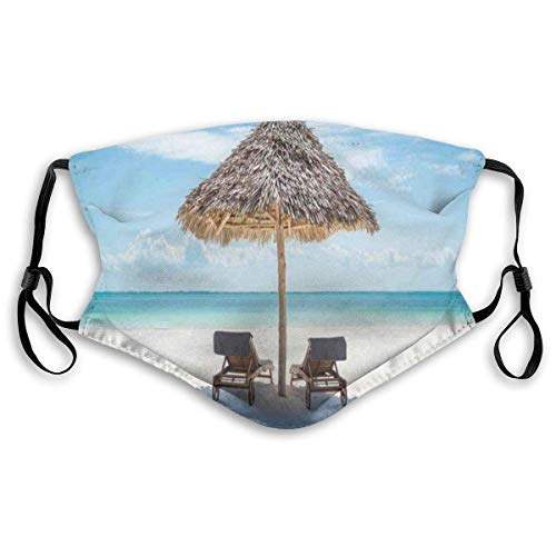 fdhdg Anti-Wind Decorative Masks,Comfortable Windproof,Wooden Sun Loungers Facing Eastern Ocean Under A Thatched Umbrella in Zanzibar,Printed Facial Decorations for Unisex