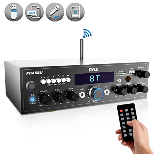 Price comparison product image Wireless Bluetooth Power Amplifier System - 200W Dual Channel Sound Audio Stereo Receiver w / USB,  SD,  AUX,  MIC IN w / Echo,  Radio,  LCD - For Home Theater Entertainment via RCA,  Studio Use - Pyle PDA6BU