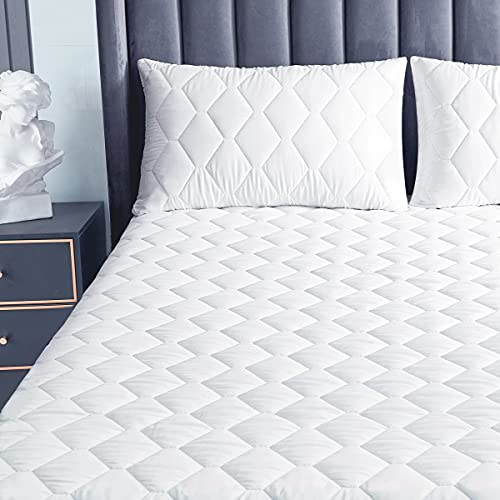 Ruili Queen Size Quilted Mattress Pad, Waterproof Breathable Mattress Protector, Deep Pocket Pillow Top Mattress Cover with Siliconized Fiber Filling (White)