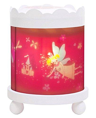 Trousselier - Elfen Prinzessin - Nachtlicht - Magisches Karussell - Ideales Geburtsgeschenk - Farbe Holz weiß - animierte Bilder - beruhigendes Licht - 12V 10W Glühbirne inklusive - EU Stecker
