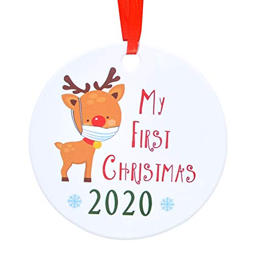 Aileam 2020 Christmas Tree Ornament, My First Christmas 2020 Cute Elk with Mask Xmas Tree Hanging Decoration 4 inch Holiday Christmas Family & Friends Gift