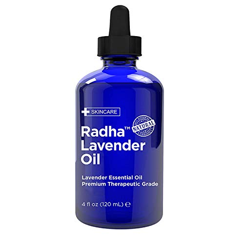 Radha Beauty - Lavender Essential Oil 4oz - Premium Therapeutic Grade, Steam Distilled for Aromatherapy, Relaxation, Sleep, Laundry, Stress & Anxiety Relief, Meditation, Massage, Headaches