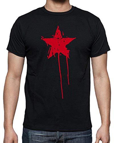 latostadora - Camiseta Estrella Roja Pintura para Hombre Negro L