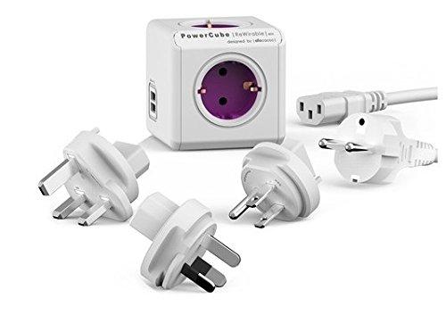 Enchufes de viaje + cable (Alemania) Allocacoc PowerCube DuoUSB ReWirable, adaptador de viaje y 4distribuidores con USB (2,1A), 230V schuko