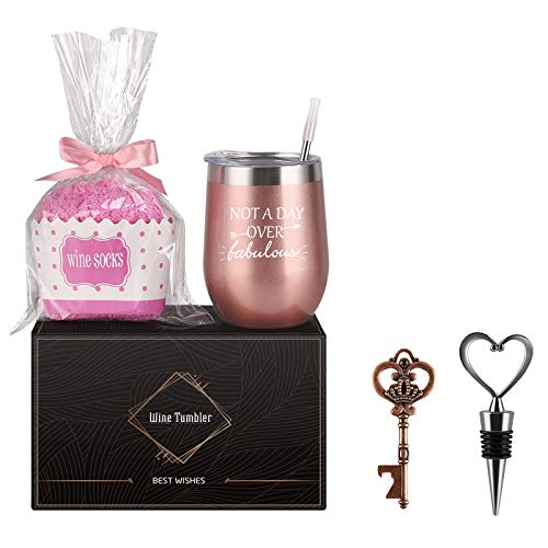 Wine Tumbler Cupcake Wine Socks Gift Set, Birthday Christmas Gift for Girlfriend Lover Women Girls, Not a Day Over Fabulous 12 Oz Stainless Steel Tumbler, Socks, Bottle Opener, Wine Stopper, Rose gold