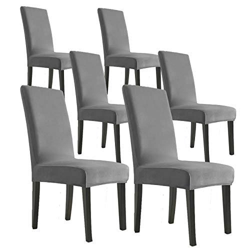 MAXIJIN Fundas elásticas de terciopelo para sillas de comedor, juego de 6 fundas extraíbles de terciopelo para sillas de comedor, fundas de felpa para comedor, hotel, cocina, ceremonias (gris, 6)