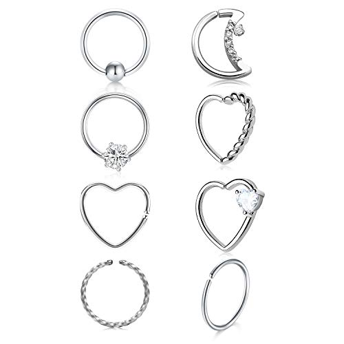 QWALIT 16g Daith Earrings Surgical Steel Tragus Helix Cartilage Piercing Jewelry Heart CZ Small Hoop Earring Silver