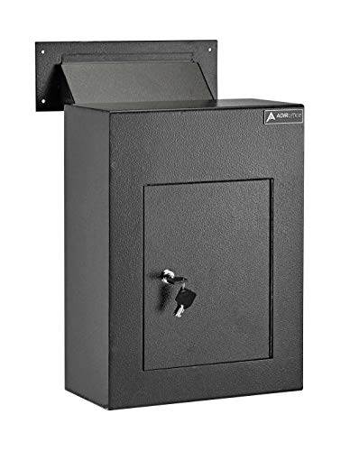 AdirOffice Through The Wall Drop Box Safe - Durable Thick Steel w/Adjustable Chute - Mail Vault for Home Office Hotel Apartment (Black)