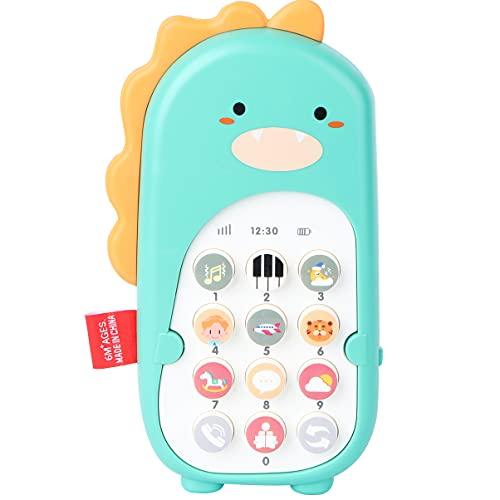 VILLCASE Teléfono Móvil para Niños Juguete Dinosaurio Teléfono Celular Juguete Teléfono Móvil para Bebés Teléfono Móvil para Niños Juguete de Dibujos Animados para Bebés Teléfono