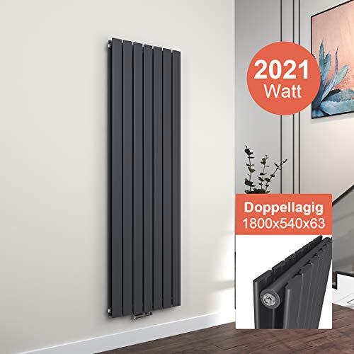 EMKE Vertikal Heizkörper Design Paneelheizkörper 1800x540mm Antrazit flach Doppellagig Mittelanschluss Heizung 2021W