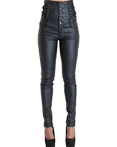 Mujer Mallas De Cuero Pantalones Imitacion Cuero Elásticos Leggins Polipiel Negro 42