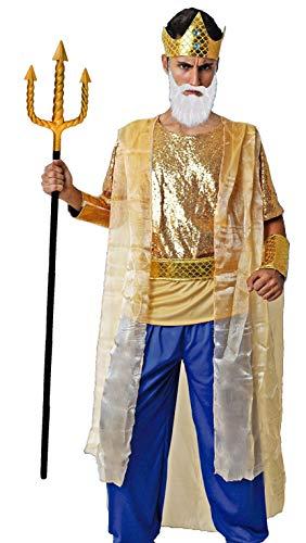 Gojoy Shop- Disfraz y Tridente de Poseidn Dios del mar Neptunia para Hombres Carnaval (Contiene Tridente, Corona, Camiseta con Capa, Pantaln, Brazalete y Fajn, Talla Unica)