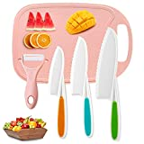 Kids Knifes Set, Nylon Knives Safe Baking Cutting Cooking Children'S Beginners Cut Fruits Salad Veggies Cake-Fun Firm Grip Serrated Edges Friendly Knife With Cutting Board Fruits Peeler 5Pack