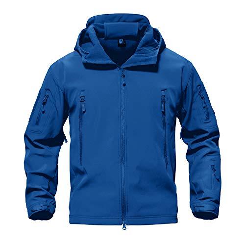 Mens Blue Soft Shell Hooded Jacket