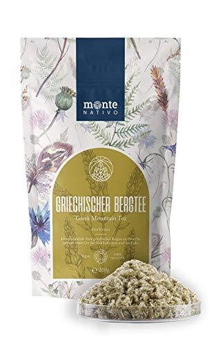 Griechischer Bergtee (200g) Monte Nativo - Fein geschnitten, getrocknet - Bergtee - Kräutertee lose - Sideritis Scardica - Stimulierender und gesunder Tee - 100% rein und natürlich