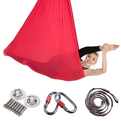 LIPETLI Aerial Yoga Hängematte Fitness Bänder Polyester Baumwolle Gravity Yoga Set Aerial Yoga Tuch Hängematte Keine Nähte Aerial Yoga Tuch,Rot