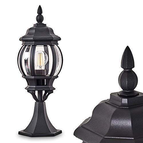 Buitenverlichting Lentua, basisverlichting in antieke look, gegoten aluminium in zwart met kunststof schijven, padverlichting 50 cm, retro/vintage tuinlamp, E27 stopcontact, max. 60 Watt IP44