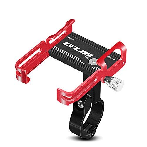 HIOD Soporte para Teléfono de Bicicleta de Aluminio Soporte de Clip de Manillar de Motocicleta para Teléfono Móvil de Bicicleta,Black Red