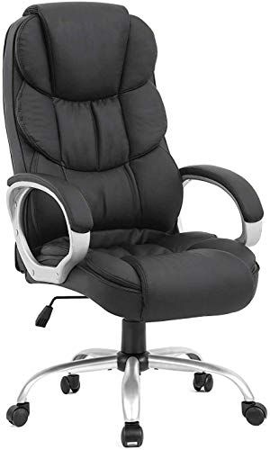 Ergonomic Desk Chair Wider High Back Adjustable Executive Chair with Padded Armrests & Lumbar Support, Modern Office PU Leather Swivel Task Chair for Women Adults, Black