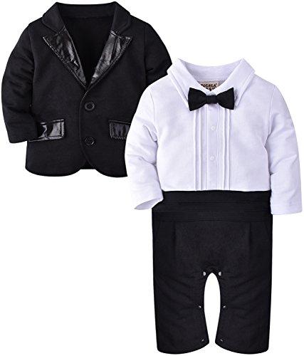 ZOEREA 2tlg Baby Junge Strampler Baumwolle Lange Ärmel gesamte Gentleman Suit für Taufe Geburtstagsfeier Hochzeitsfeier 95