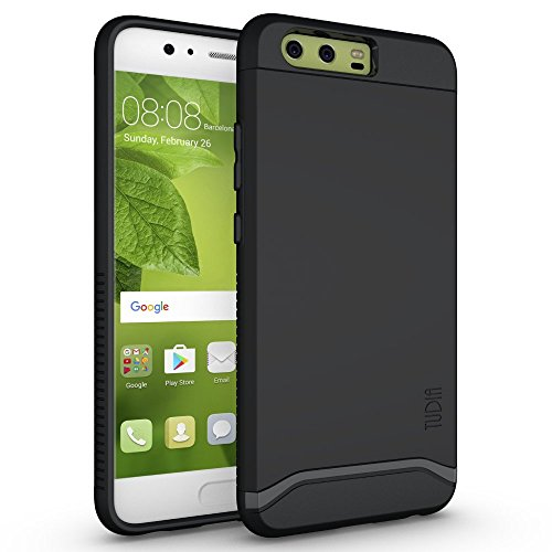 TUDIA Huawei P10 Case, Slim-Fit Heavy Duty [Merge] Extreme Protection/Rugged but Slim Dual Layer Case for Huawei P10 (Matte Black)