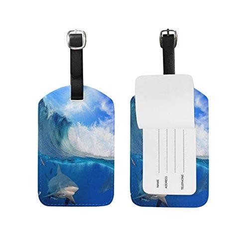 Domoko Ocean Wave Shark Luggage Tags Travel ID Bag TagDomoko 1 Piece