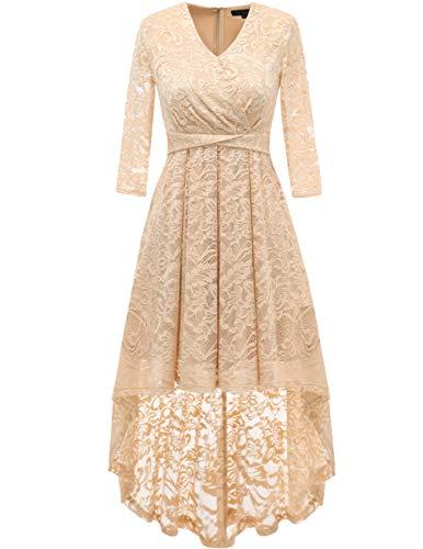 DRESSTELLS Abendkleider elegant Cocktailkleid Unregelmässig Spitzenkleid Brautjungfernkleid Floral Kleid Champagne 2XL